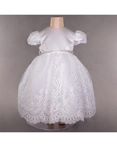DRESS WHITE LACE EMBROIDERED TULLE RSTONE BELT CAP SLEEVE