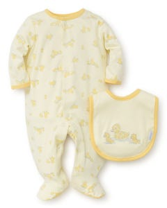 2PC SLEEPER & BIB-YELLOW DUCK PRINT FRONT CLOSURE