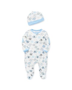 2PC SLEEPER & HAT WHITE & BLUE ELEPHANT PRINT FRONT ZIP CLOSURE