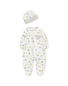 2 PC SLEEPER & HAT WHITE MULTI DINOSAUR PRINT GREY STRIPE POCKET