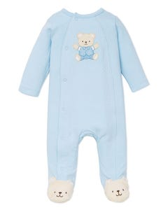 SLEEPER BLUE BEAR APPLIQUE SIDE CLOSURE
