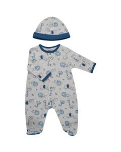 2 PC SLEEPER & HAT WHITE BLUE SAFARI PRINT FRONT CLOSURE