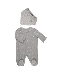 2 PC SLEEPER & BIB GREY WHITE STARS & STRIPES FRONT ZIP CLOSURE