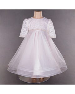 DRESS PINK LACE TOP PEARL WAIST TULLE SKIRT WITH HORSEHAIR