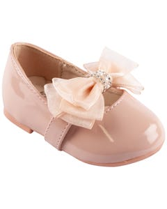 SHOE BABY PINK PEARL BOW