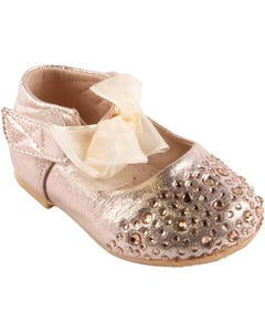 SHOE BABY BOW GOLD RHINESTONE BOW