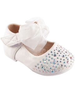 SHOE BABY BOW WHITE RHINESTONE BOW