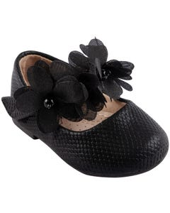 SHOE BABY BLACK FLOWER RHINESTONE