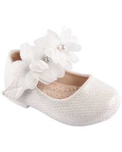 SHOE BABY WHITE FLOWER RHINESTONE