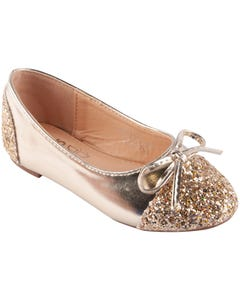 SHOE GOLD SEQUIN FRONT BOW BALLET