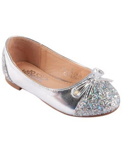 SHOE SILVER SEQUIN FRONT BOW BALLET