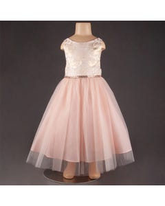 DRESS BLUSH ROSES EMBOSSED BODICE JEWELLED BELT TULLE SKIRT