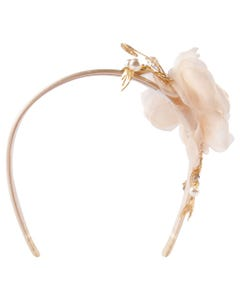 HEADBAND BEIGE CHIFFON FLOWER PEARLS & JEWEL