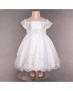 Z10137ZER 339 DRESS IVORY HIGH LOW EMBELISHED TULLE & FLOWERS