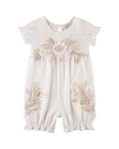Princess Daliana Girls 2Pc Romper & Headband Set Size 0m-24m | P20242 Ivory