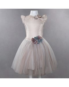 3 PC TOP & SKIRT& HEADBAND BEIGE TULLE FLOWERS APPLICY PEARL & RSTONE