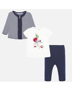 Mayoral Girls 3Pc Square Print Legging Set Size 12m-36m | 1713 Navy
