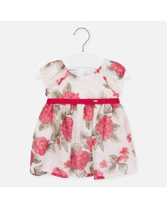 Mayoral Girls Pink Rose Print Dress Size 6m-24m | 1907 Pink