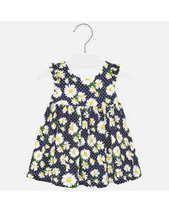 Mayoral Girls Daisy Print Dress Size 6m-24m | 1945 Navy