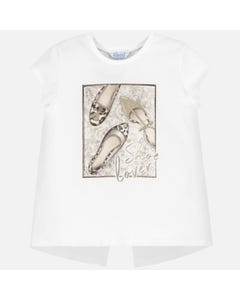 Mayoral Girls White Gold Shoe Print Shirt Size 8-18 | 6011 032 White