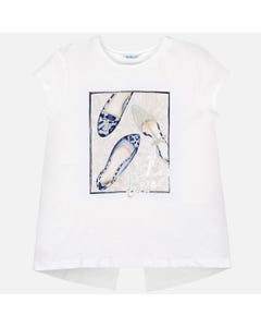 Mayoral Girls White Navy Shoe Print Shirt Size 8-18 | 6011 034 White