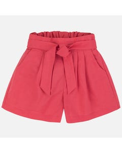 Mayoral Girls Short Linen Red Pocket Size 8-18 | 6258 Red
