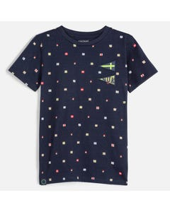 Mayoral Boys Navy Printed Short Sleeve Shirt Size 8-18 | 6071 020 Navy