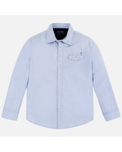 Mayoral Boys Light Blue Long Sleeve Shirt Size 8-18 | 6157 041 Blue