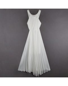 DRESS IVORY LONG PLEATED BUTTON TRIM COLLAR STRAPS