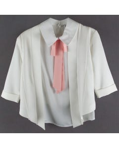 3 PC.PANT SET IVORY PINK TIE RSTONE TRIM JACKET & TOP & PANT