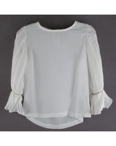BLOUSE IVORY PLEATED SLEEVES WITH RSTONE TRIM