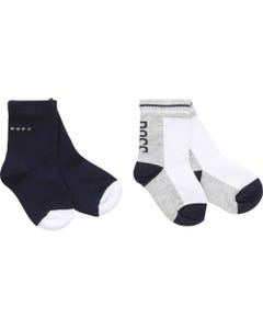 BOSS Boys 2Pc Sock Set Navy White Size 17-25 | J00083 Navy