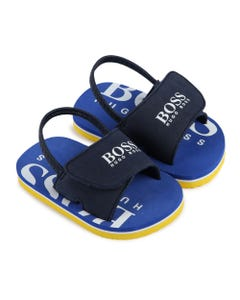 BOSS Boys Navy White Boss Logo Flip Flops Size 19-30 | J09123 849 Navy