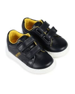 BOSS Boys Navy And Yellow Trainers Size 20-29 | J09131 849 Navy