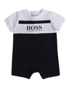 BOSS Boys Short Romper Navy And White Size 3m-18m | 94246 Blue