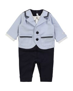 BOSS Boys Romper Jacket Shirt Blue And Navy Size 1m-12m | 94249 Blue