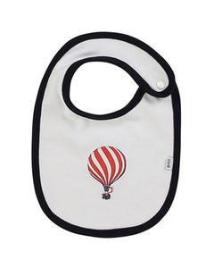BIB WHITE BLUE TRIM RED BALLOON PRINT