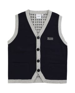 Hugo Boss Boys 3 Button Knit Vest Size 4-12 | 25G02 Navy