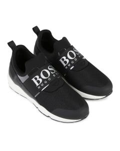 Hugo Boss Boys Black Meshlike Grey Boss Logo Size 27-41 | 29H93 Black