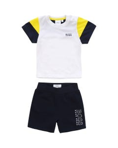 Hugo Boss Boys 2Pc Short Set Navy And Yellow Size 12m-3 | 8041 White