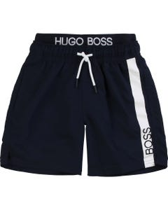 Hugo Boss Boys Boss Logo Swim Shorts Size 4-16 | 24651 Navy