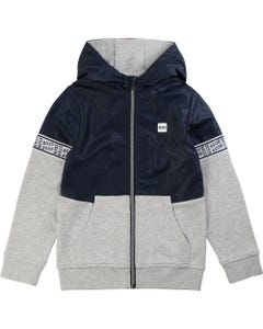 Hugo Boss Boys Navy And Grey Hooded Cardigan Size 4-16 | 25G10 Navy