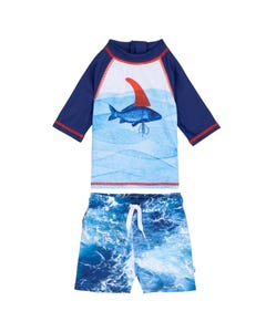 2 PC TOP & BOARDSHORT BLUE FISH PRINT RASHGUARD