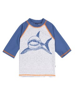 TOP BLUE GREY SHARK PRINT RASHGUARD