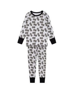 PYJAMA GREY BLACK GAME OVER PRINT