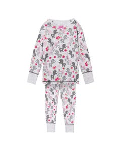 PYJAMA GREY UNICORN PRINT RED ROSES