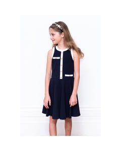 DRESS NAVY WHITE TRIM GOLD BUTTONS FLARE SKIRT