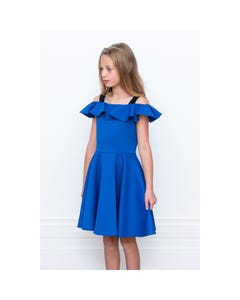 DRESS ROYAL BLUE FLOUNCE NECKLINE SPAGHETTI STRAPS BLACK