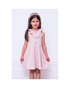 DRESS PINK FLOUNCE COLLAR FLOWER BUTTON TRIM BUBBLE EFFECT