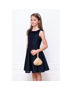DRESS NAVY RUFFLE TRIM NECKLINE BACK & IMITATION POCKETS